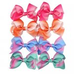 8 pcs 4.5inch boutique bow w/ clip mix 8 light gradient colorful color