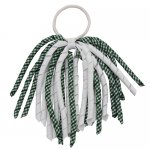 12 pcs school color white / green gingham 6 inch long korker bow w/ pony tail holder