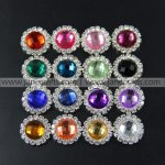 50pcs 16mm Round Acrylic Rhinestone Button Flatback MIX 16 COLOR