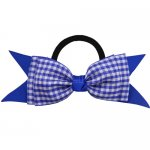 12 pcs school color royal / royal gingham 5 inch layered bowtie bow w/ pony tail holder