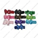 "10pcs 4"" Polka Dot Grosgrain Spike Bow with 10 Headband Mix 10 Color"