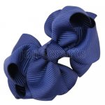 12pcs 2.5 inch layered boutique bow clip-navy