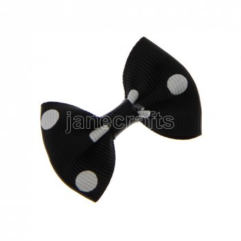 12pcs 2  Polka Dot Grosgrain Bowtie Bow NO Clip-Black with White
