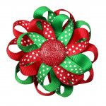 "12pcs 3"" Flower Loop Hair Bow with Ribbon Covered Clip-Red/Emerald"