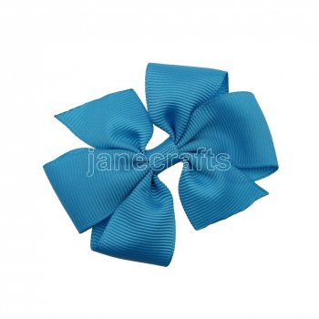 12pcs 3  Solid Daily Pinwheel Hair Bow Clips-Turquoise