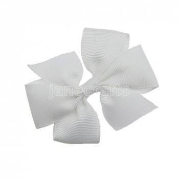 12pcs 3  Solid Daily Pinwheel Hair Bow Clips-White