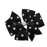"12pcs 4"" Polka Dot Pinwheel Hair Bow Clips-Black with White"