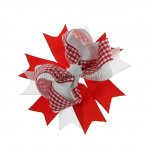 "12pcs 4.5"" Gingham Layered Spike Hair Bow Without Clip- Red"
