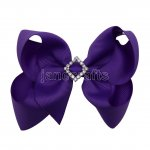 "12pcs 4.5"" Bling Chunky Boutique Hair Bows with Rhinestone Slider Center Without Clips-Purple"