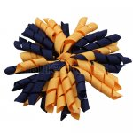 12 pcs school color navy / gold grosgrain 5 inch korker bow w/ lined clips
