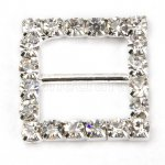 18mm 50pcs Square Rhinestone Buckle Invitation Ribbon Slider For Wedding Supply Silver Color