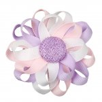 "12pcs 3"" Flower Loop Hair Bow NO Clip-Lt Pink/Orchid/White"