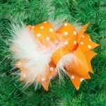"12pcs 4"" Feather Hair Bows NO CLIP-Tangerine"