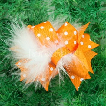 12pcs 4  Feather Hair Bows NO CLIP-Tangerine