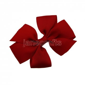 12pcs 3  Solid Daily Pinwheel Hair Bow Clips-Poppy Red