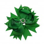 "12pcs 4.5"" Bling Spike Hair Bows with Rhinestone Slider Center With Clips-Emerald"