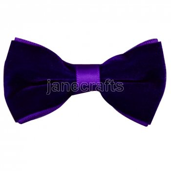 12pcs 2.5  Velvet Hair Bowtie Bows-Purple