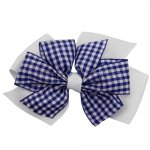 12 pcs school color white / navy gingham 4 inch layered pinwheel bow w/ alligator clip