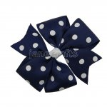 "12pcs 4"" Polka Dot Pinwheel Hair Bow Clips-Navy with White School Spirit"