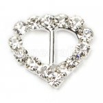 13mm 50pcs Heart Rhinestone Buckle Invitation Ribbon Slider For Wedding Supply Silver Color