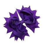 "12pcs 4.5"" Solid Spike Hair Bows NO CLIP-Purple"