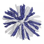 12 pcs school color white / navy gingham 5 inch korker bow w/ lined clips