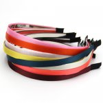 "12pc 3/8"" Solid Satin Ribbon Covered 7mm Metal Headband Assorted Lot"