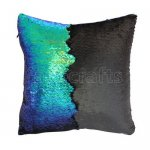 10pcs wholesale fantastic green / black two tone reversible sequin cushions cover pillow case