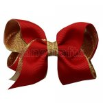 12pcs 3.5 inch gold layered boutique bow clip-poppy red