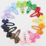 "24 pcs 2"" polka dots pinwheel bow snap clips mix 12 colors"