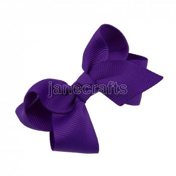 12pcs 2.5  Solid Grosgrain Chunky Boutique Hair Bows Without Clip-Purple