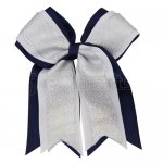 12pcs 5 inch silver / white 3 layered cheer bow clip-navy