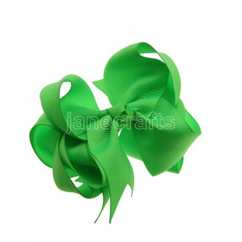 12pcs 4  Double Layer Grosgrain Boutique Chunky Hair Bows With Clips-Acid Green
