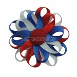 "12pcs 3"" Flower Loop Hair Bow with Ribbon Covered Clip-Royal/White/Red"