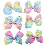 6 pcs 4 inch rhinestone boutique bow w/ clip mix 6 gradient colorful