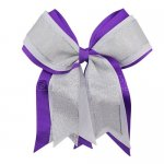 12pcs 5 inch silver / white 3 layered cheer bow clip-purple