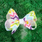 "12pcs 3"" Chevron Grosgrain Boutique Chunky Hair Bows NO CLIP-Colorful"