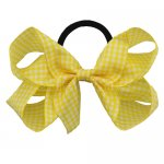 12 pcs school color yellow gingham 5 inch boutique bow w/ pony tail holder