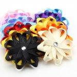 "12pcs 3"" Layered Flower Loop Bow Clips with Rhinestone Center Mix 12 Color"