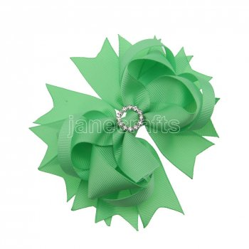 12pcs 4.5  Bling Spike Hair Bows with Rhinestone Slider Center Without Clips-Mint