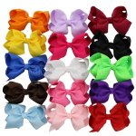 15pcs 3.5 inch Classic Boutique Grosgrain Hair Bow Clips Mix 15 Color