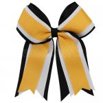 12pcs 5 inch black / white 3 layered cheer bow clip-gold