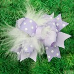 "12pcs 4"" Feather Hair Bows With Clips-Lt Orchid"