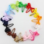 "28pcs 2.5"" boutique bow with lined Barrettes clips mix 14 colors"