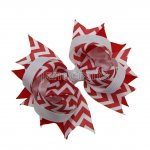 "12pcs 4.5"" Chevron Spike Hair Hair Bows NO CLIP-Peppy Red"