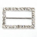 28mm 50pcs Rhinestone Buckle Invitation Ribbon Slider For Wedding Supply Silver Color