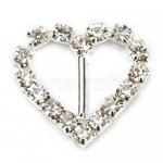 21mm 50pcs Heart Rhinestone Buckle Invitation Ribbon Slider For Wedding Supply Silver Color