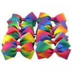 12 pcs 6 inch flat bouqitue bow w/ clip mix 12 gradient rainbow color