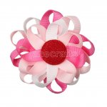 "12pcs 3"" Flower Loop Hair Bow NO Clip-Hot Pink/Lt Pink/White"