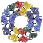 12 pcs school gingham 5 inch boutique bow w/ pony tail holder mix 6 colors